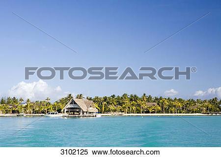 Stock Image of Hotel Intercontinental, Bora Bora, French Polynesia.