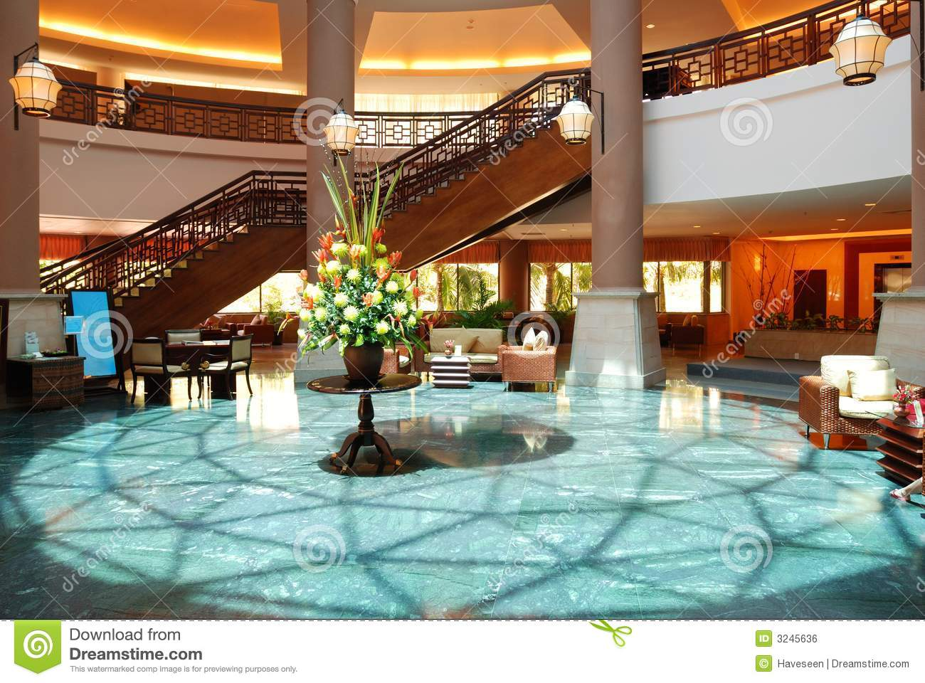 Luxury Hotel Lobby Royalty Free Stock Image.