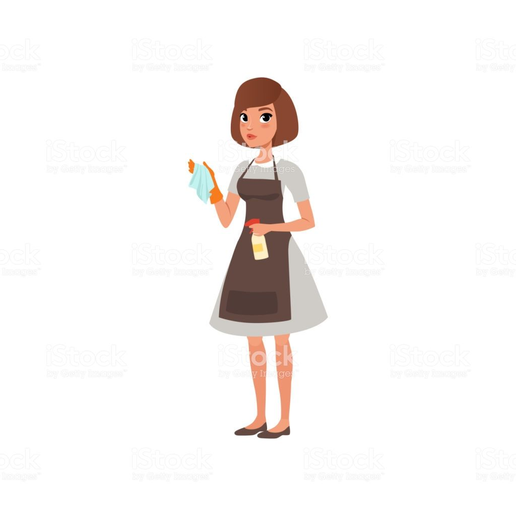 Cartoon woman character holding rag and spray bottle with.