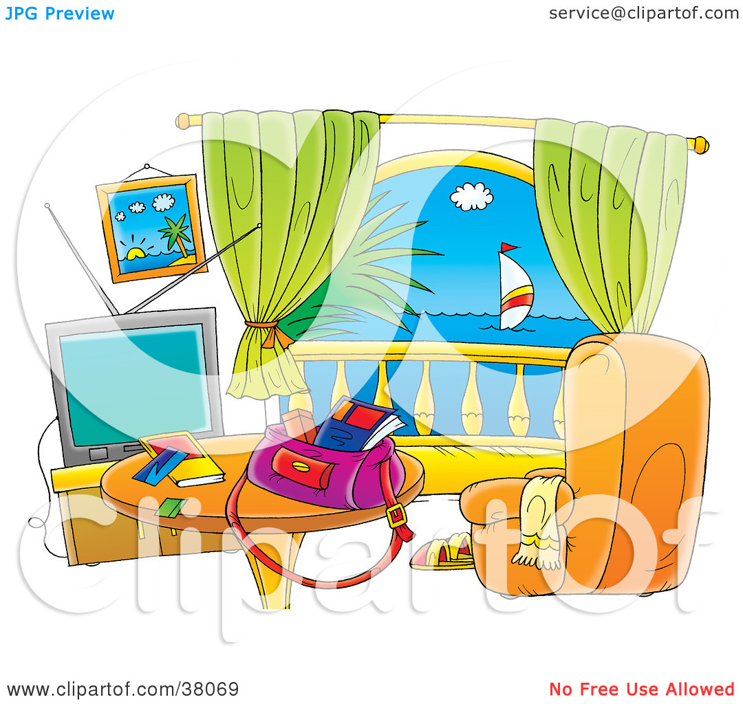 Clipart Illustration of a Hotel Room With A Balcony View Of The.