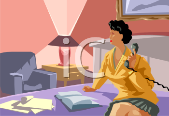 Royalty Free Clipart Image: Woman Sitting in a Hotel Room.