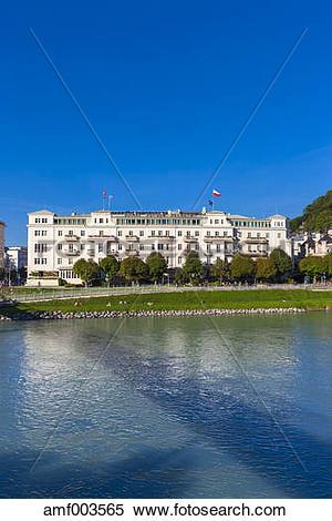 Stock Image of Austria, Salzburg, Hotel Sacher at Salzach river.