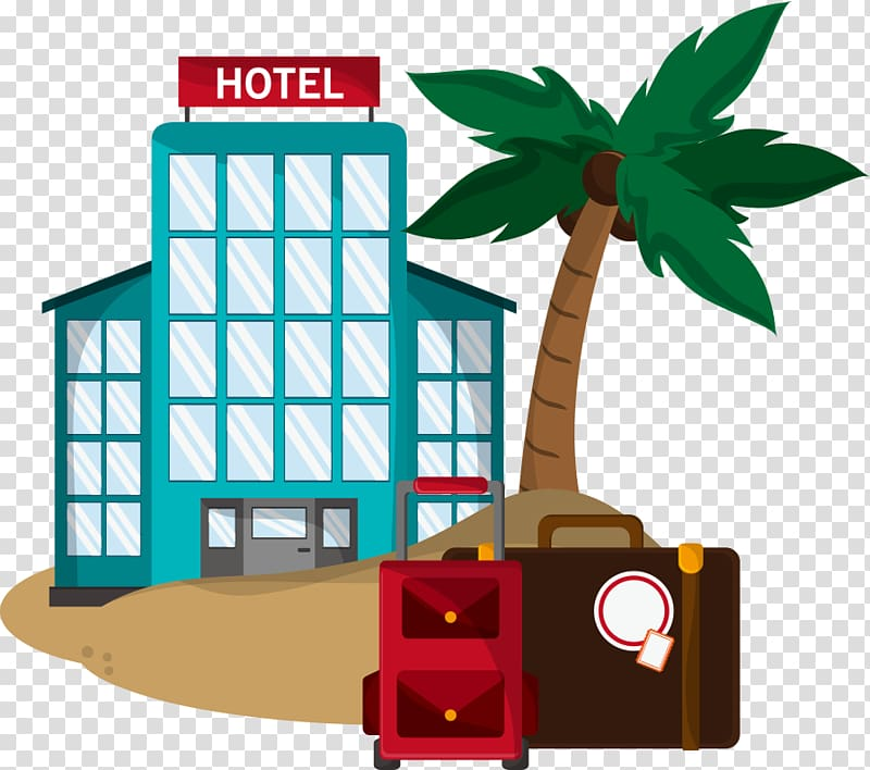 Hotel Cheap Vacation Icon, hotels and coconut trees.