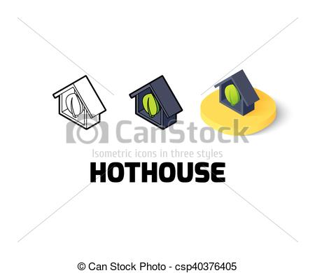 Vector Clipart of Hothouse icon in different style.