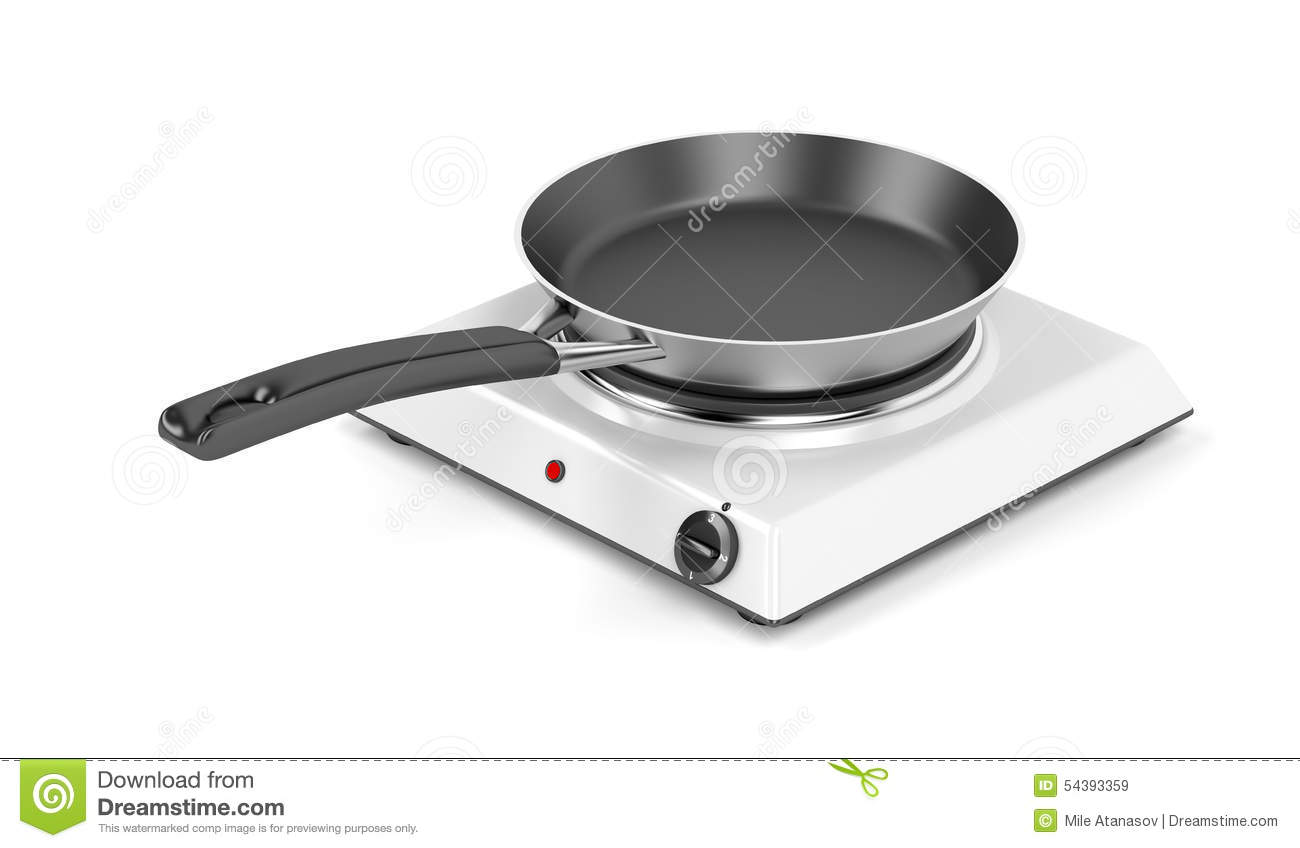 Hot Plate And Frying Pan Stock Illustration.