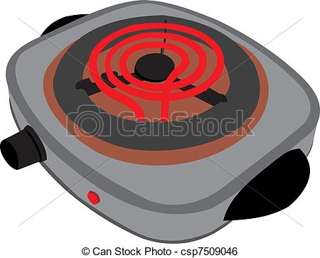Clip Art Vector of Electric plate. Dinner preparation csp7509046.