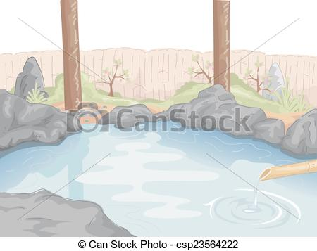 Vector Illustration of Hot Spring.