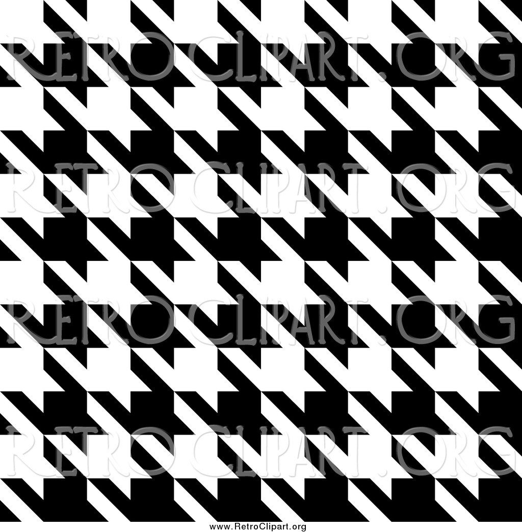 Clipart of a Black and White Seamless Houndstooth Pattern Background.