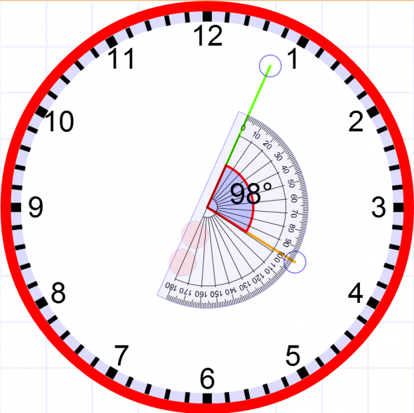 Calculate the angle between hour hand and minute hand.