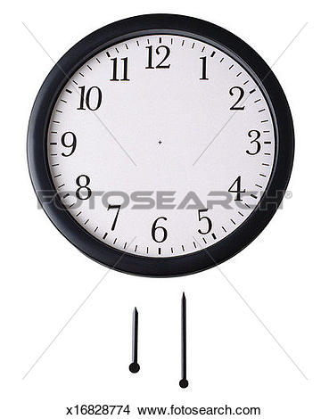 Stock Photo of Front view of wall clock with hour hand and minute.