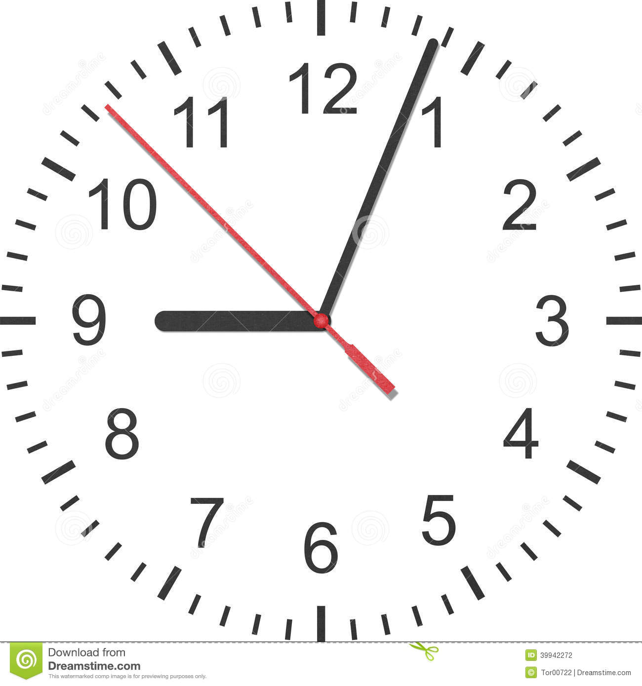 Paper Cut Of Time Clock, Watch Is Number With Hour Hand And Minu.