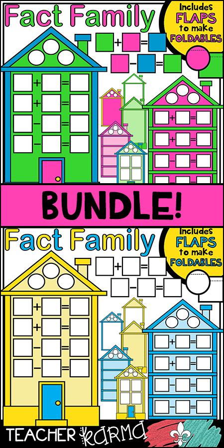 Fact Family House Clipart BUNDLE KIT * Foldables.