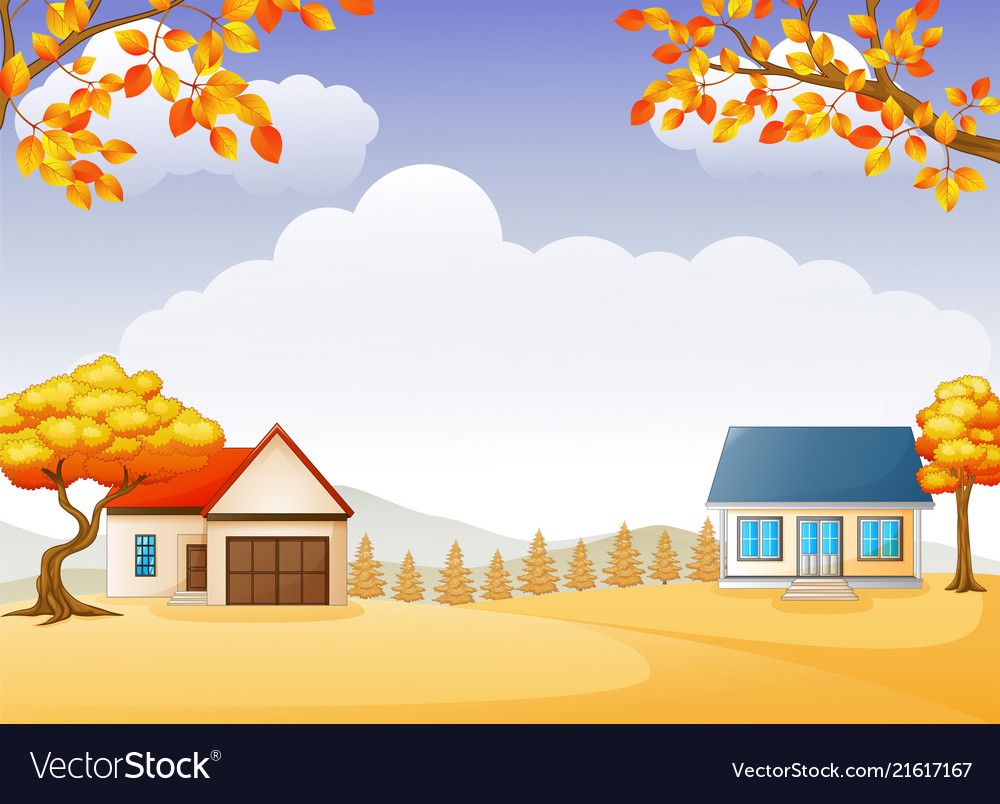 Autumn house and garden with bright foliage trees.