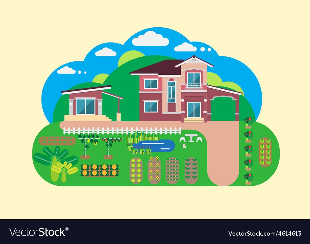 House and garden yard.