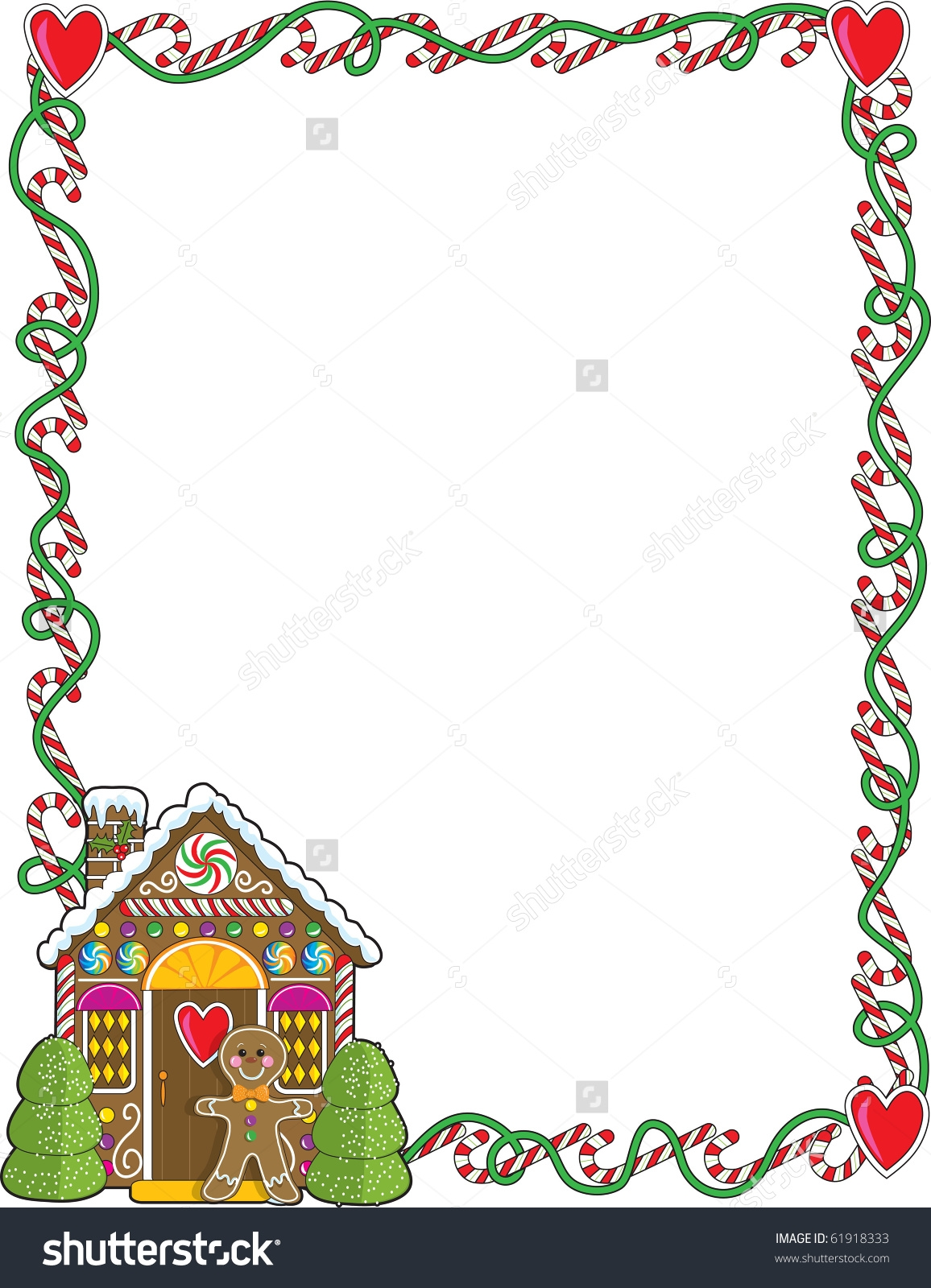 Gingerbread House Border Clipart.