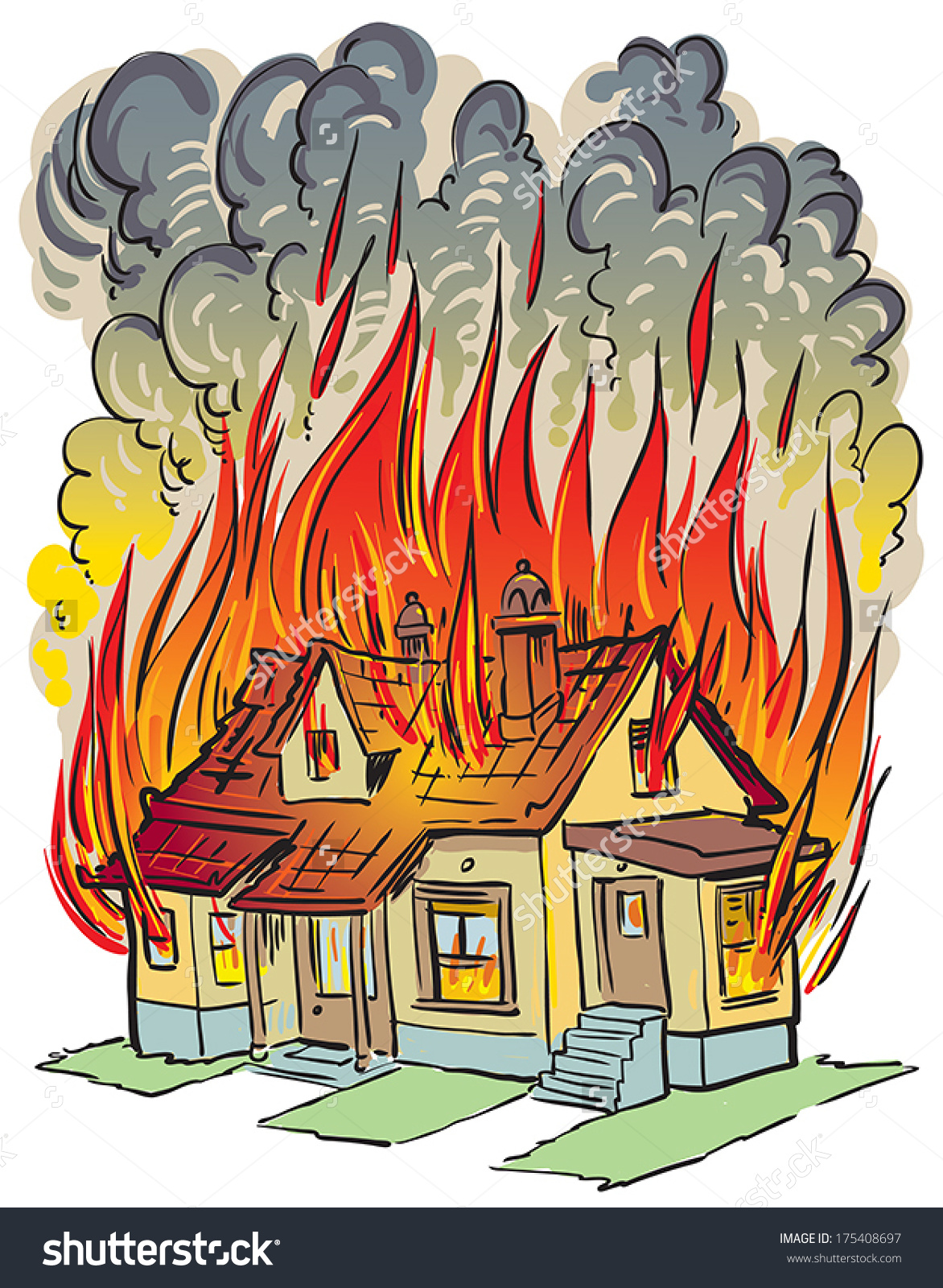 A House On Fire Clipart.