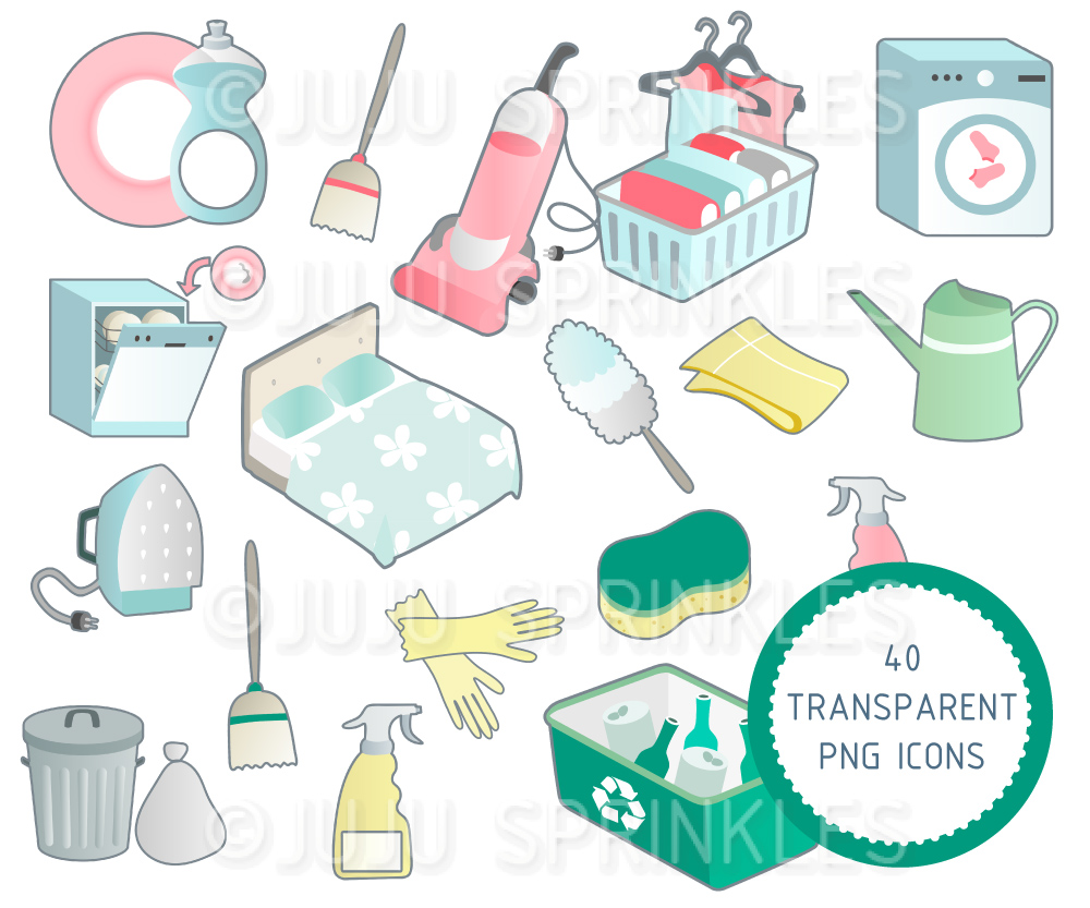 Household Chore Clipart and Sticker Set.