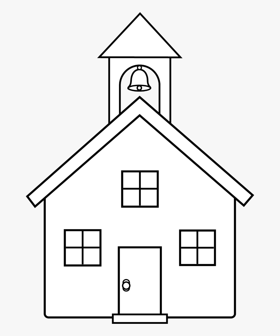 School House Line Art Clipart Drawing.