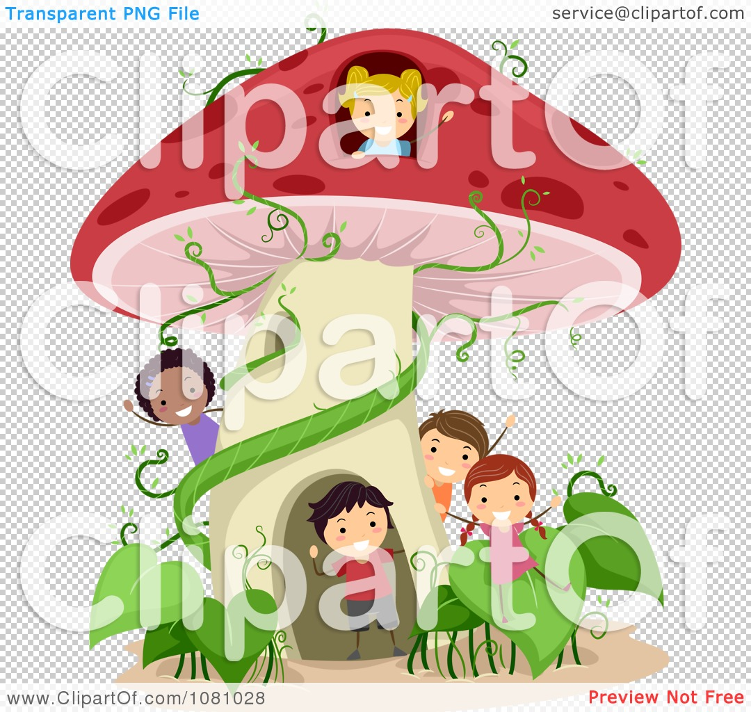 Clipart Stick Kids Playing At A Mushroom House.