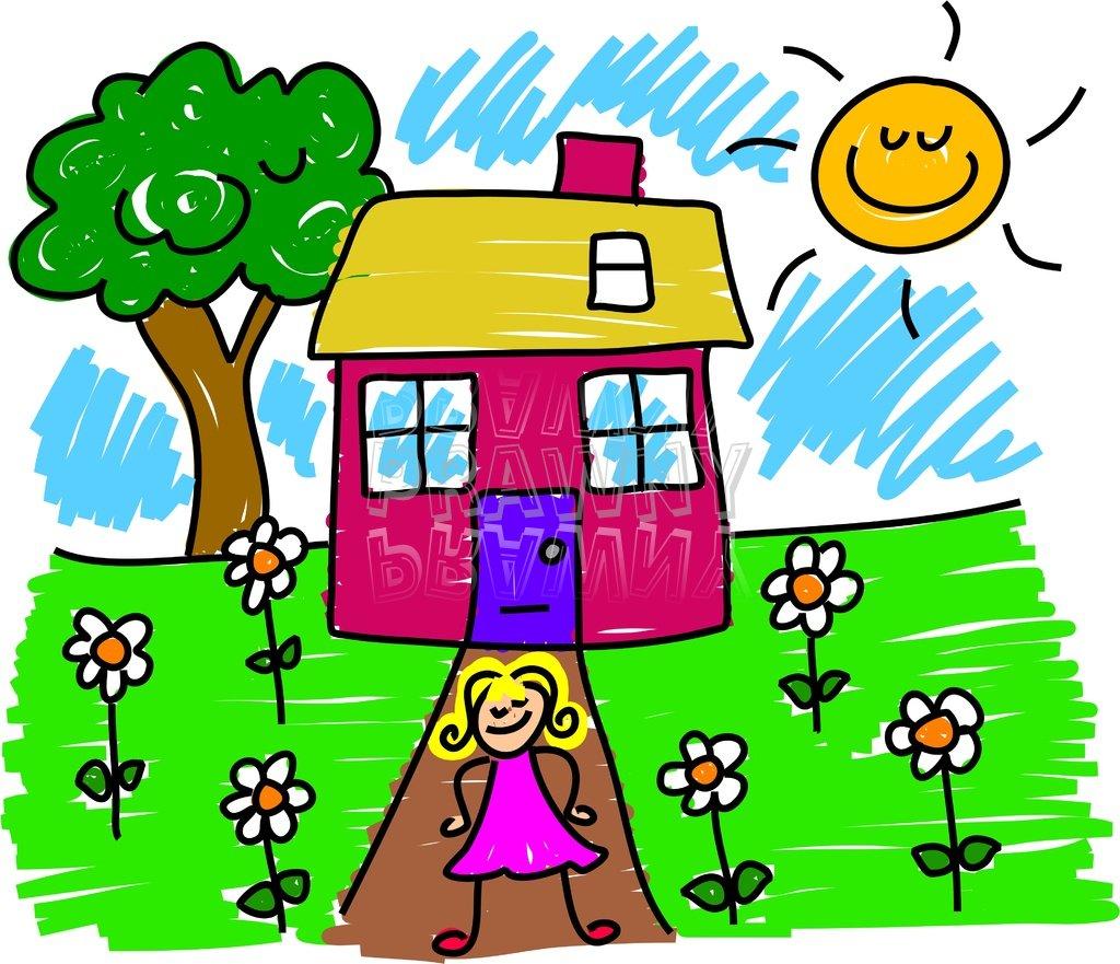 Happy Cartoon Girls House and Garden Toddler Art Prawny Clip Art.