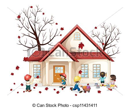 Vector Clip Art of kids in front of house.