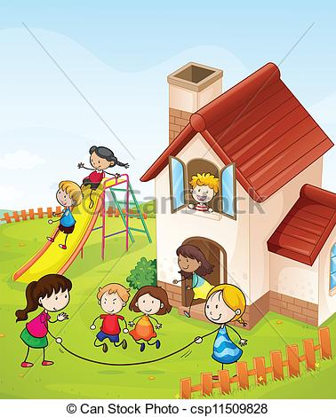 Vector Illustration of kids and a house.