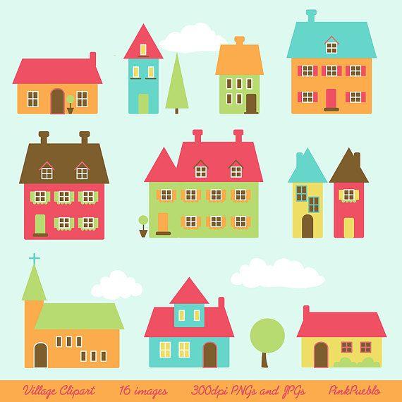 Village Clip Art Clipart Town Clip Art Clipart Houses Clip.