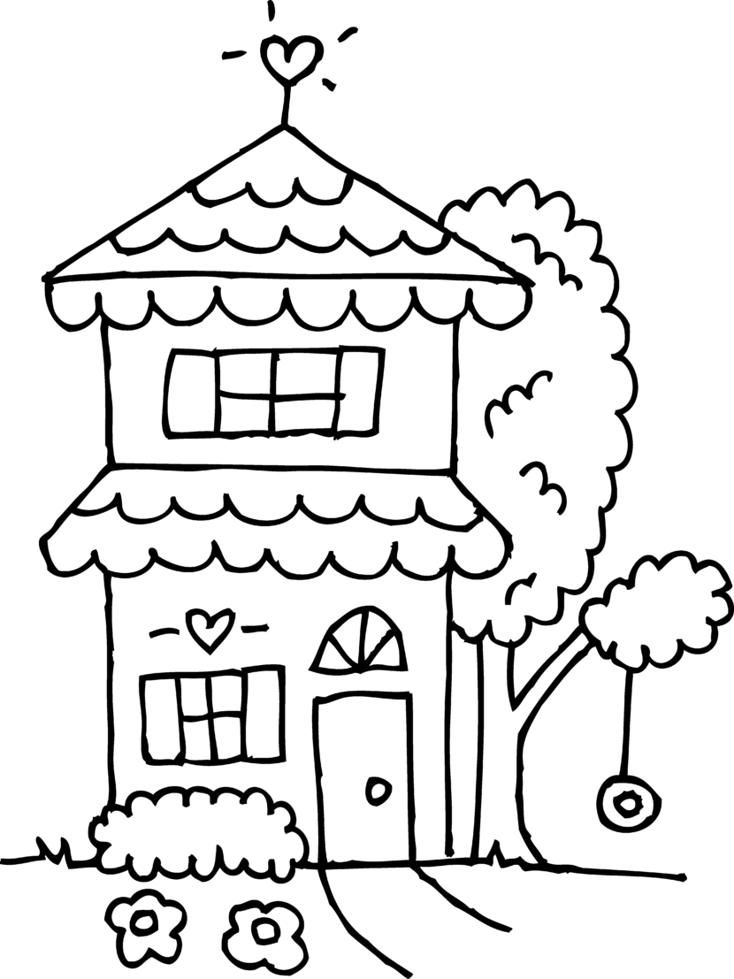 House Clipart Black and White.