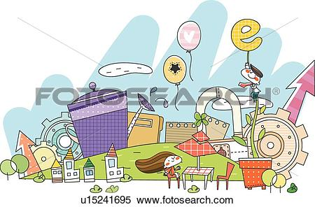 Stock Illustration of cloud, house, Clouds, Balloons, Balloon.