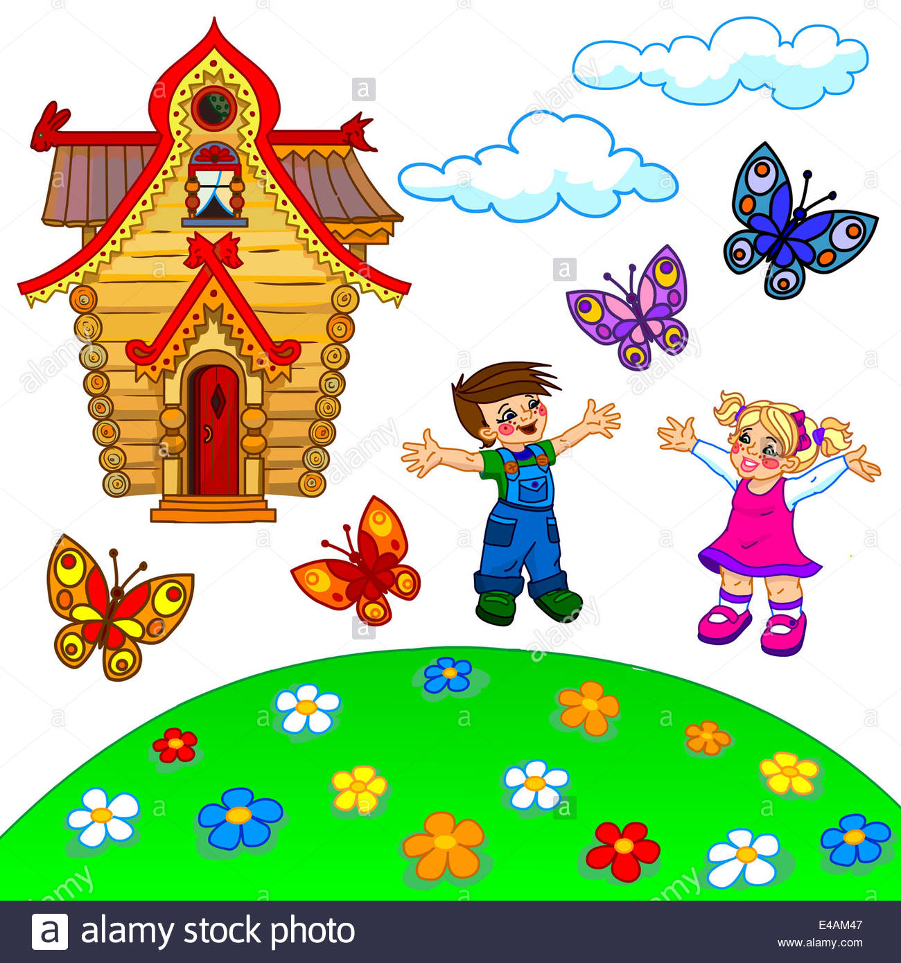 Illustration Of Cartoon Lawn, Two Happy Kids, House, Clouds And.