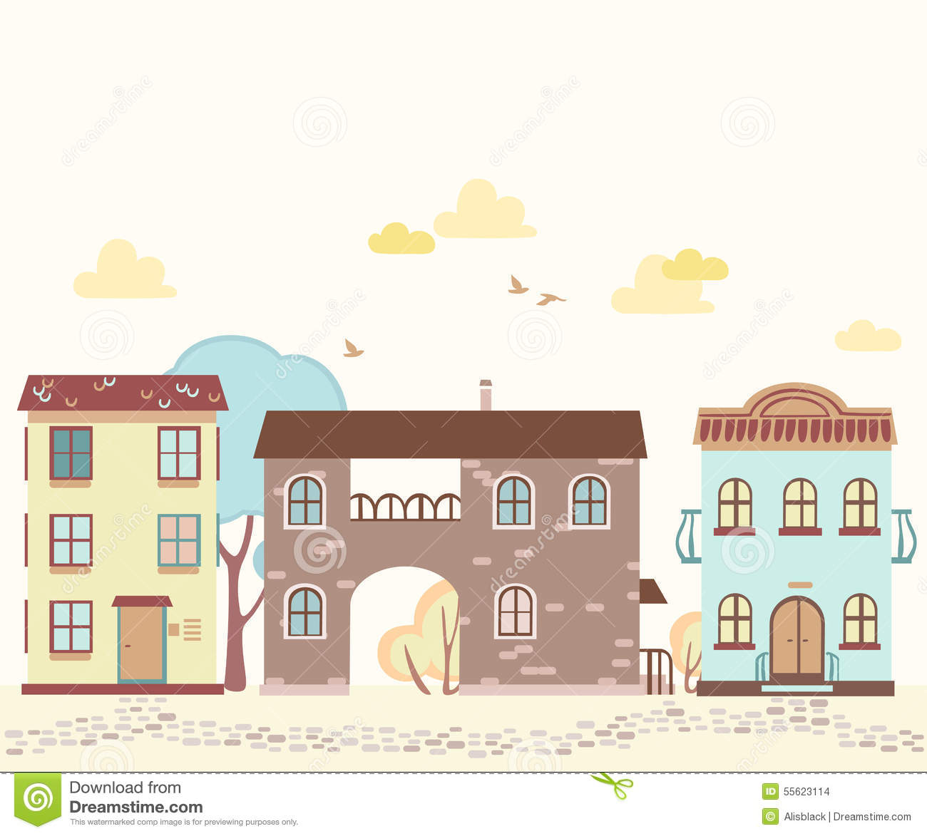 Cartoon Street With Houses, Clouds, Trees Stock Vector.