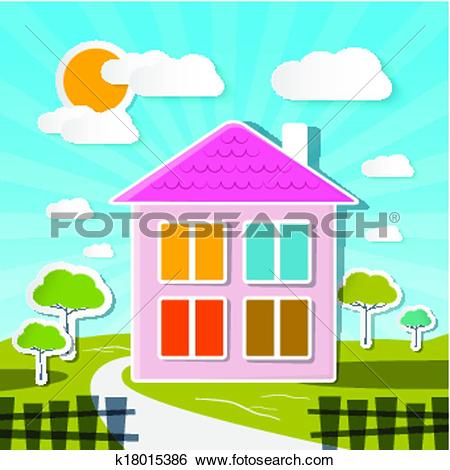 Clip Art of Vector House on Sunny Day with Trees and Clouds.