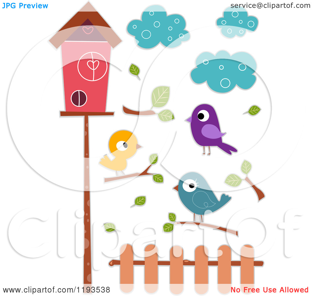 Cartoon of Sticker Styled Birds Clouds Branches a Fence and House.