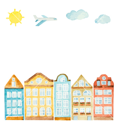 Watercolor house clouds airplane vector by meggichka.