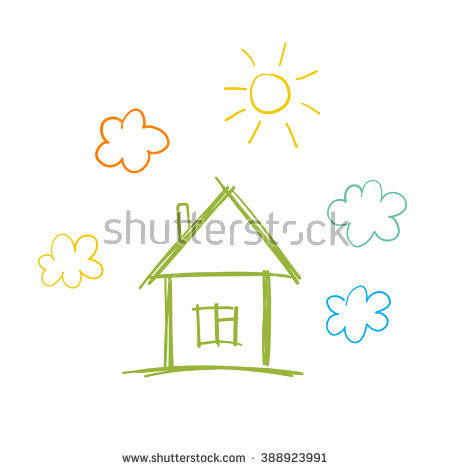 Doodle Children Drawing House Sun Clouds Stock Vector 388923991.