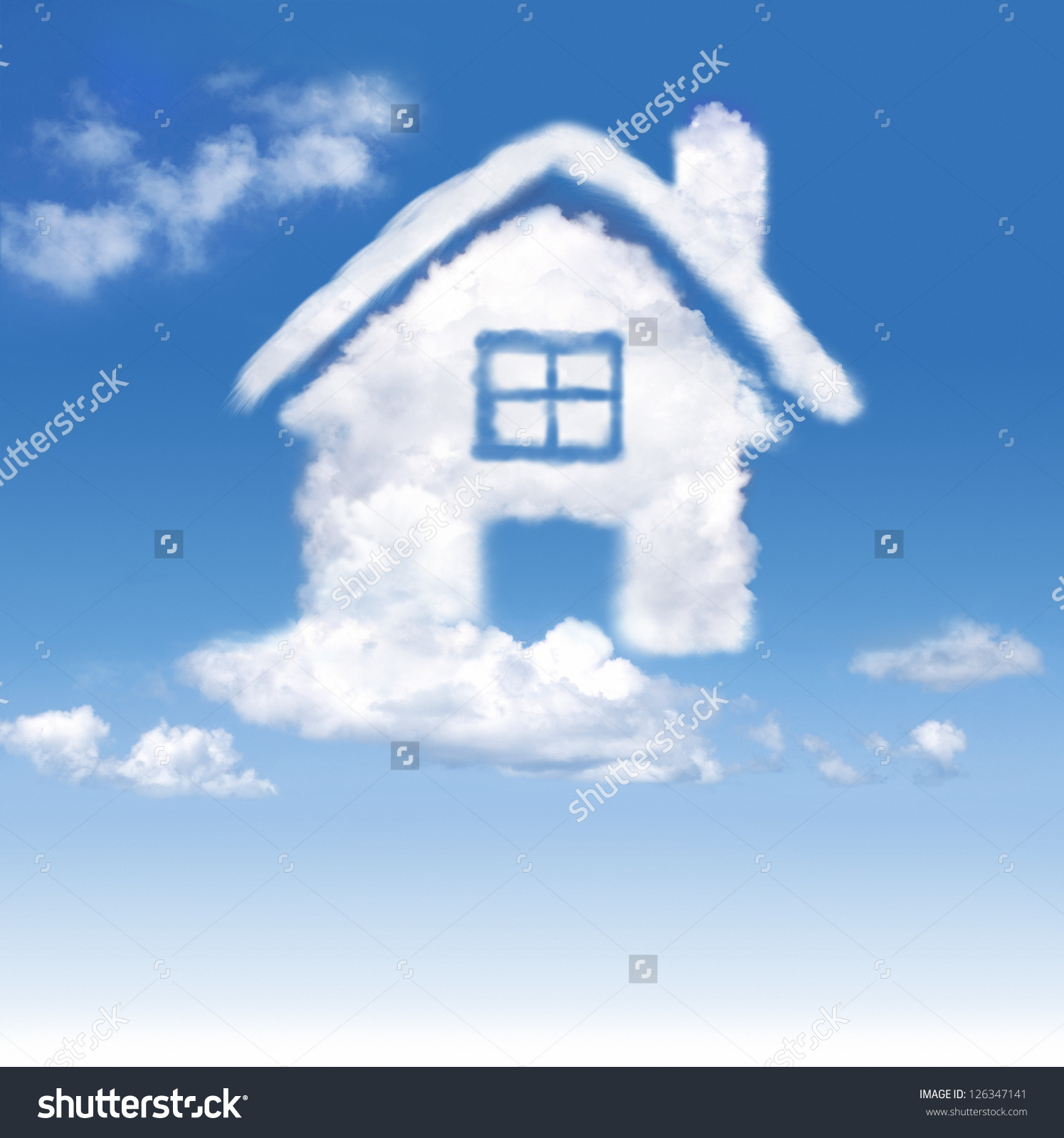 House Clouds Blue Sky On Gradientwhite Stock Photo 126347141.