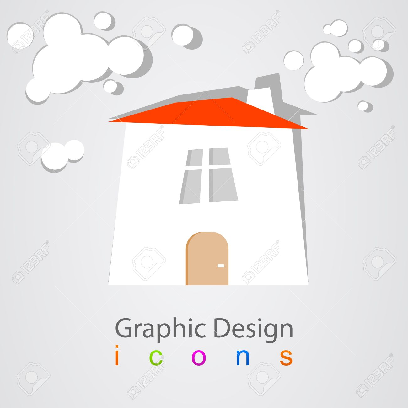 Graphic Design House Clouds Royalty Free Cliparts, Vectors, And.