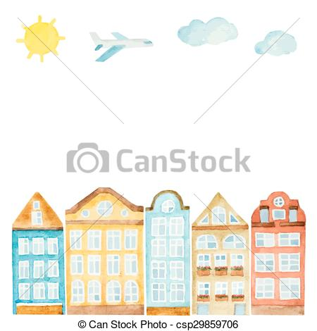 Vector Clipart of Watercolor house, clouds, airplane, sun on a.