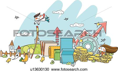 Stock Illustrations of cloud, house, Clouds, coins, coin, colorful.