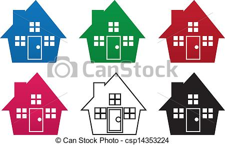Vector Illustration of House Silhouette Colors.