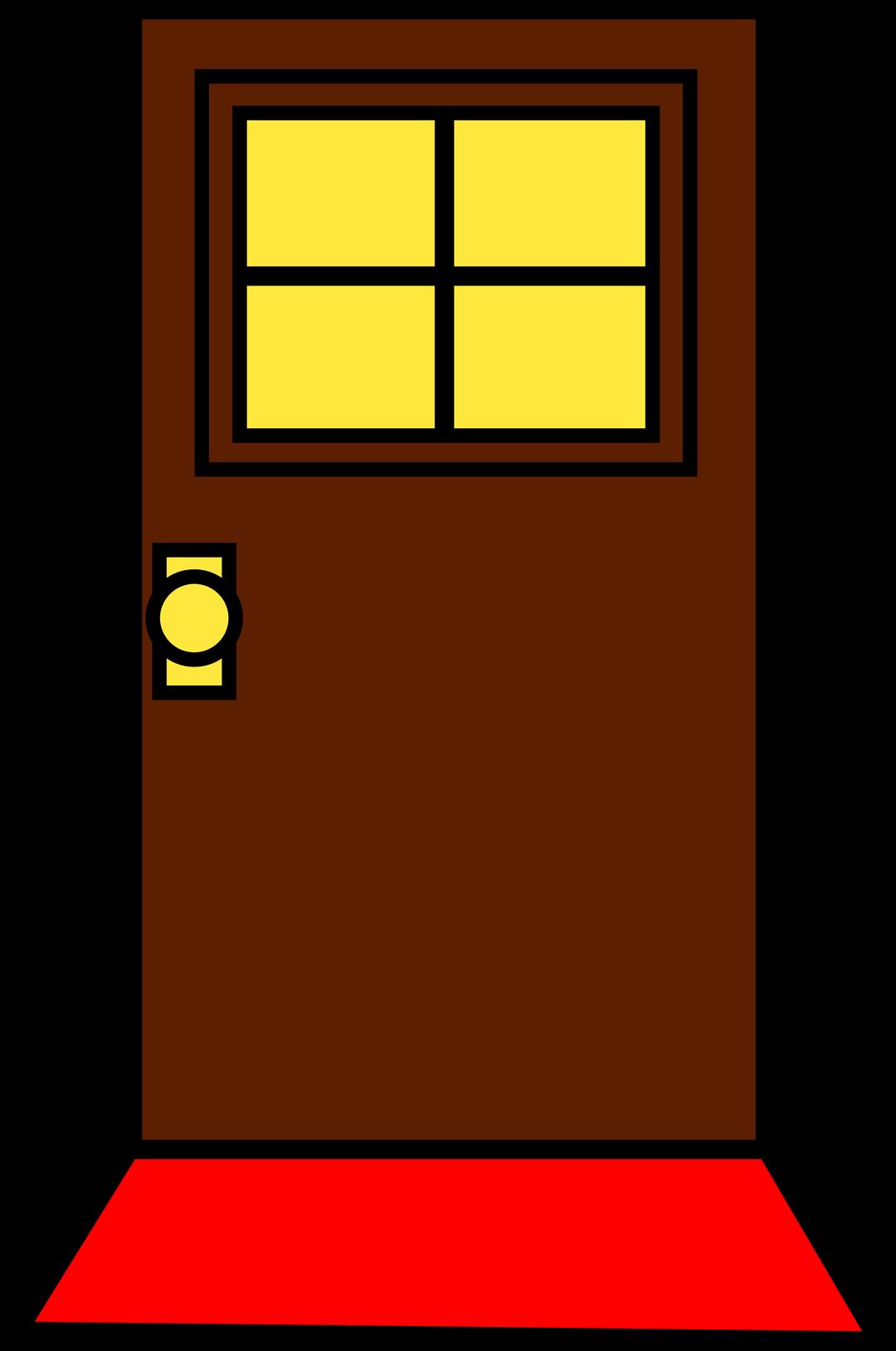 Simple Brown Door Design Free Clip Art With Window And Doormat.