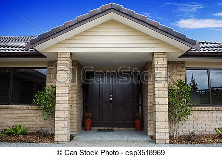 Stock Photographs of Modern House Front Entrance.