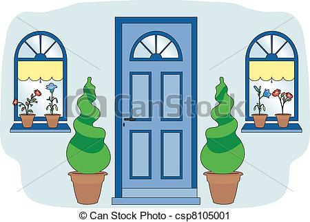 Vector Clip Art of Blue door and shrubs.