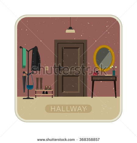 Hall Interior With Entrance Door. Vintage Illustration Of Hallway.