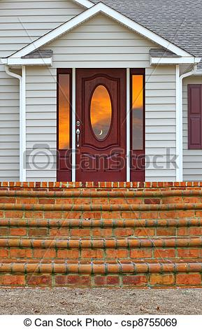 Stock Illustration of A staircase leading to a porch and a back.
