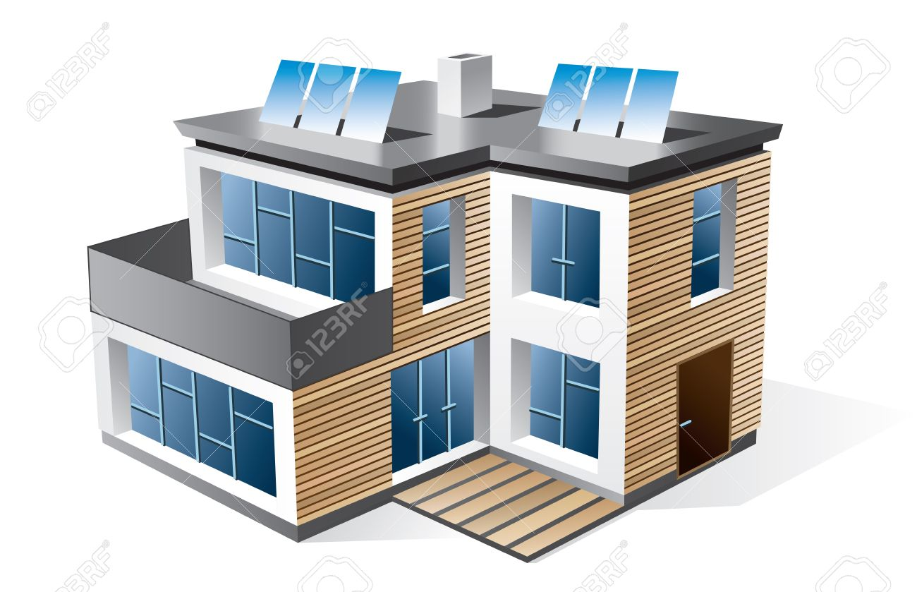 Isolated 3d Icon Of Modern Family House With Wood Facade Check.