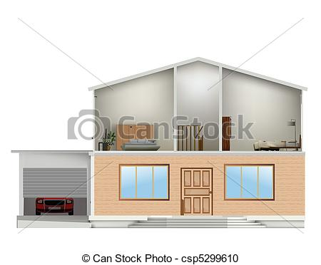 Vector Clipart of House cut with interiors and part facade. Vector.