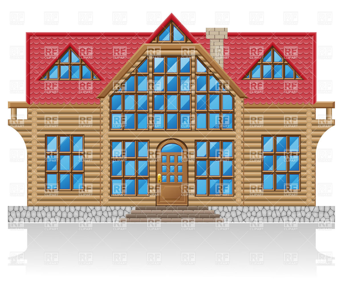 Wooden log house facade Vector Image #19934.
