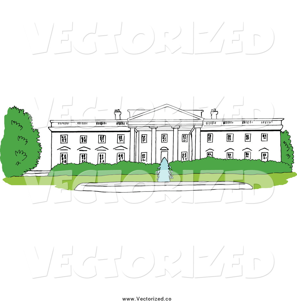 Royalty Free Clipart of the White House Facade, Washington DC by.