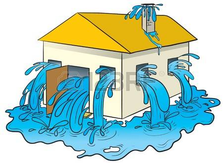 Flooded House Clipart.